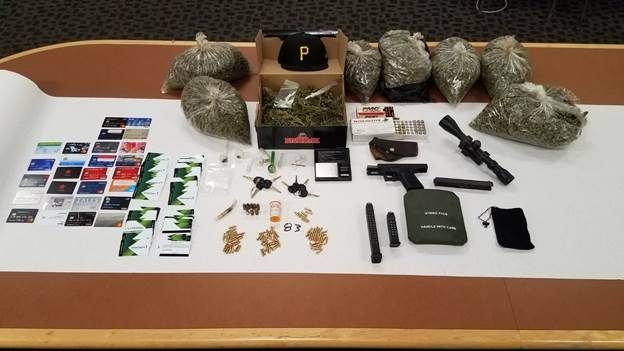 Processed Marijuana Bags-Keys-Handgun-Rifle Scope-Credit Cards-High Capacity Magazines